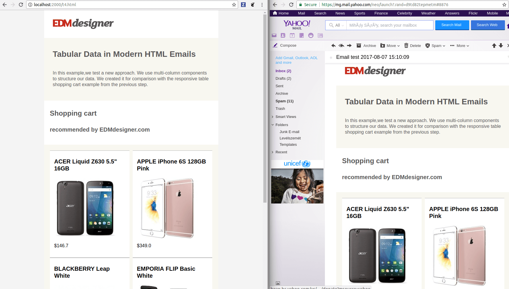 Browser-Yahoo comparison