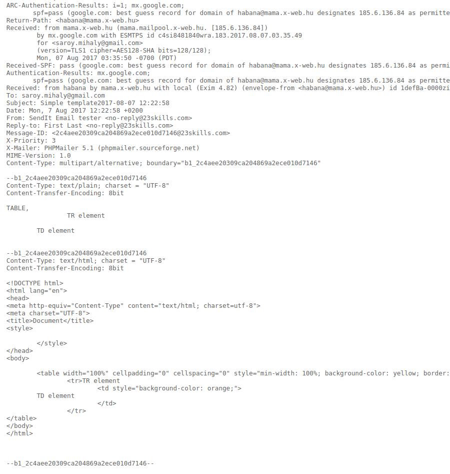 Mail server output